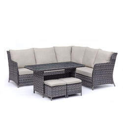 Living Accents  Brookhaven  6 pc. Gray  Steel  Patio Set  Cream