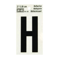 Hy-Ko 2 in. Reflective Black Vinyl Self-Adhesive Letter H 1 pc.