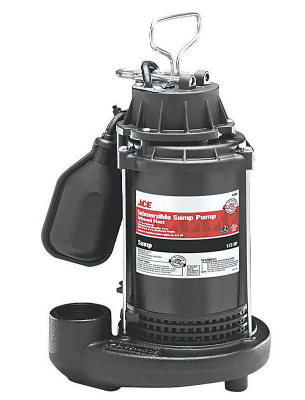 Ace  1/3 hp 3450 gph Plastic  Submersible Sump Pump