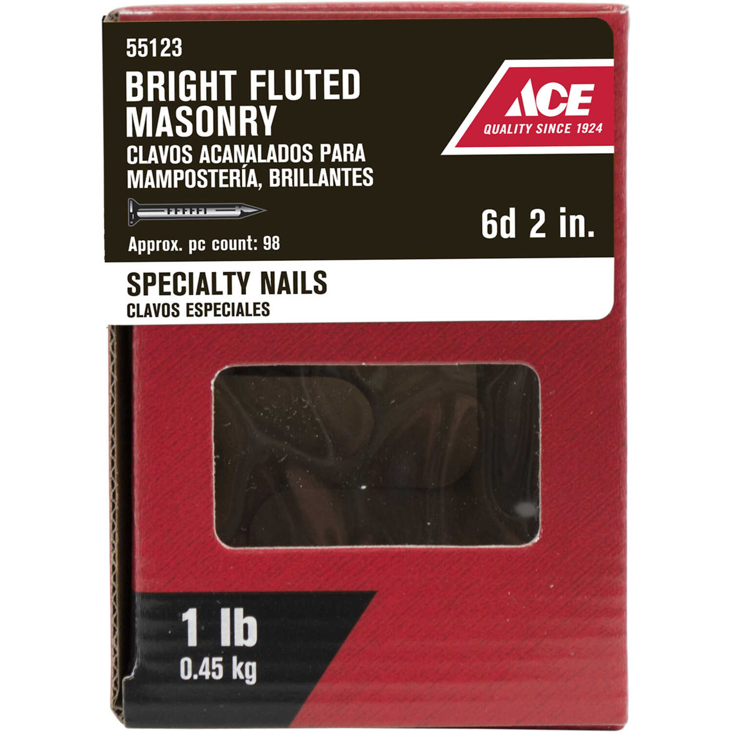 Ace  6D  2 in. L Masonry  Nail  Fluted Shank  1 lb.