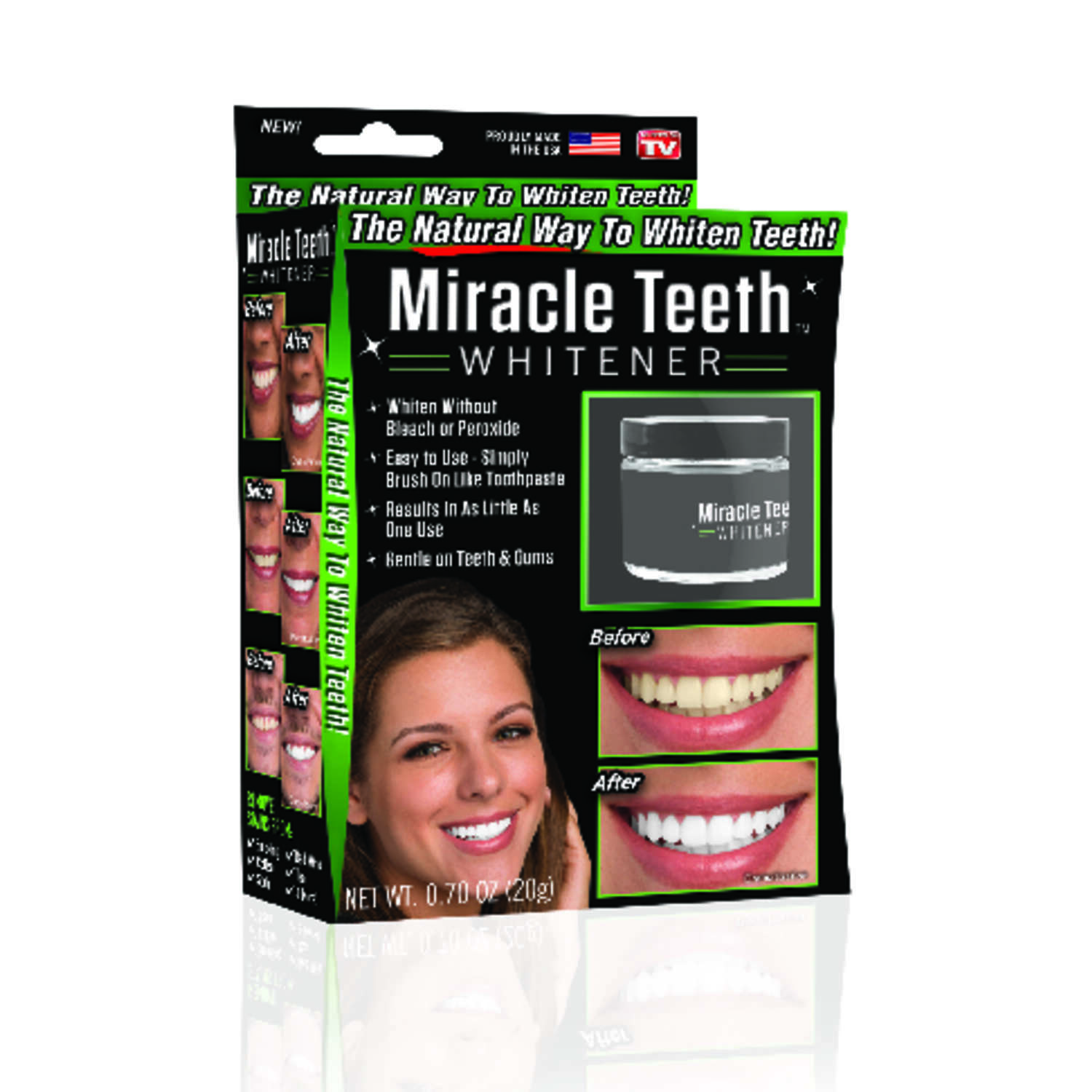 Miracle Teeth  As Seen On TV  Charcoal  Whitener  0.7 oz. 1 pk