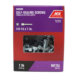 Ace  1/4-14 Sizes  x 1 in. L Hex Washer Head Zinc-Plated  Steel  Self-Sealing Screws  1 lb.