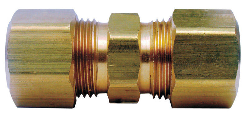 JMF  1/4 in. Dia. x 1/4 in. Dia. Compression To Compression  Yellow Brass  Union