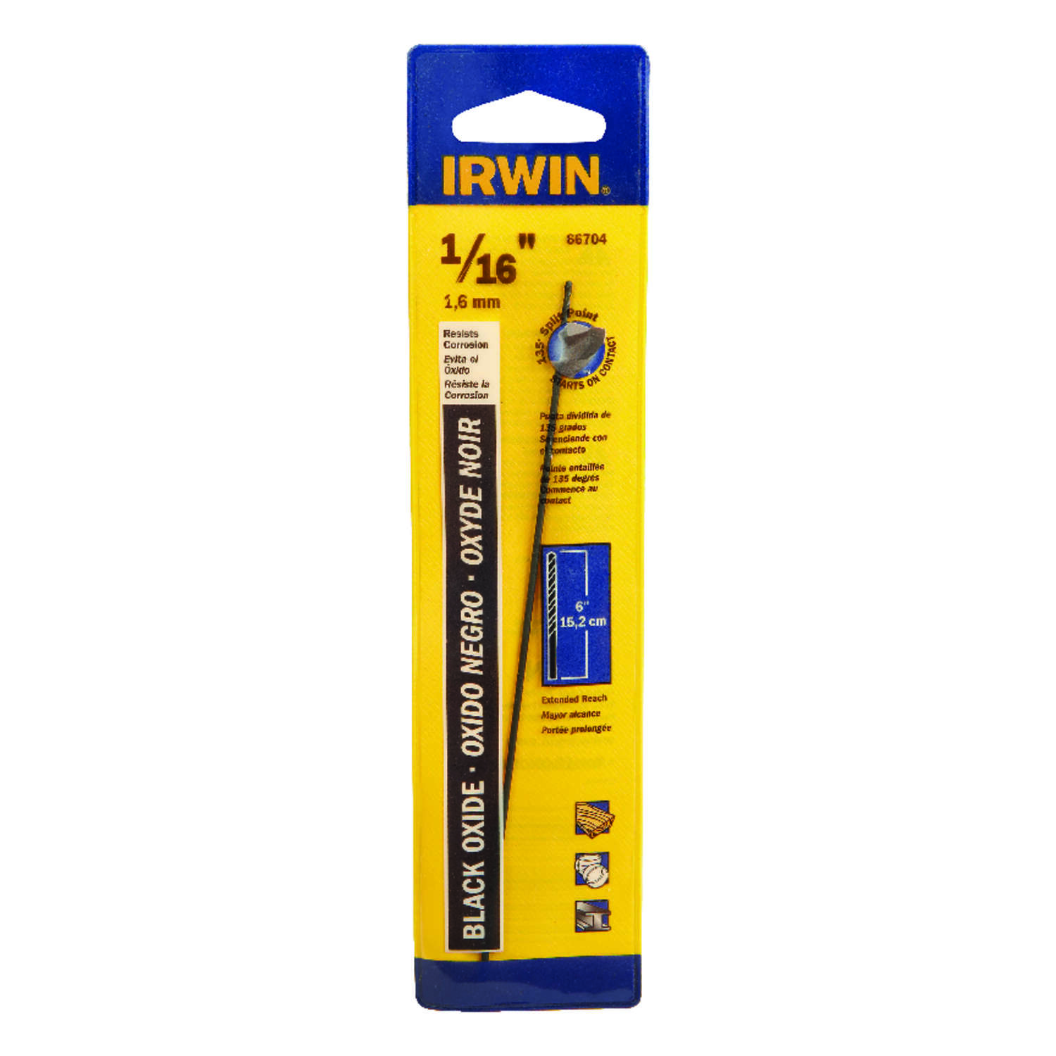 Irwin  1/16 in.  x 6 in. L High Speed Steel  Split Point  Drill Bit  1 pc.