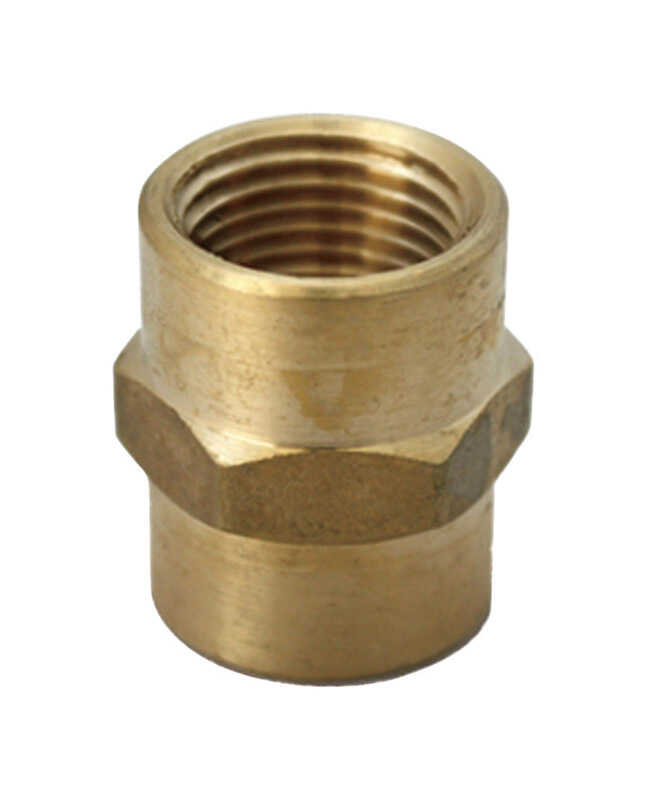 JMF  3/4 in. Dia. x 1/2 in. Dia. FPT To FPT  Yellow Brass  Reducing Coupling