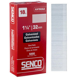 Senco  1-1/4 in. 18 Ga. Straight Strip  Brad Nails  Smooth Shank  5000 pk