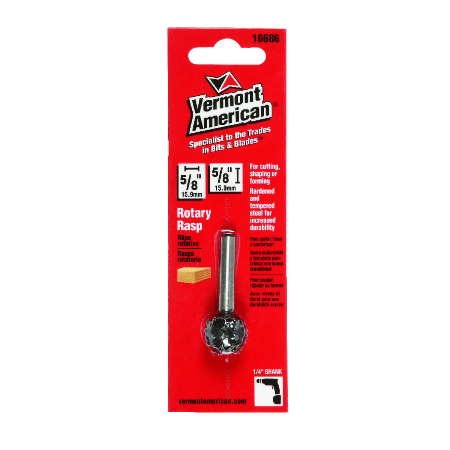 Vermont American  1.77 in. L x 0.625 in. L x 5/8 in. Dia. American  Ball  Single Cut  Rotary Rasp  1