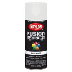 Krylon  Fusion All-In-One  Satin  White  Paint + Primer Spray Paint  12 oz.