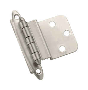 Amerock  2 in. W x 2-3/4 in. L Satin Nickel  Steel  Decorative Hinge  10 pk