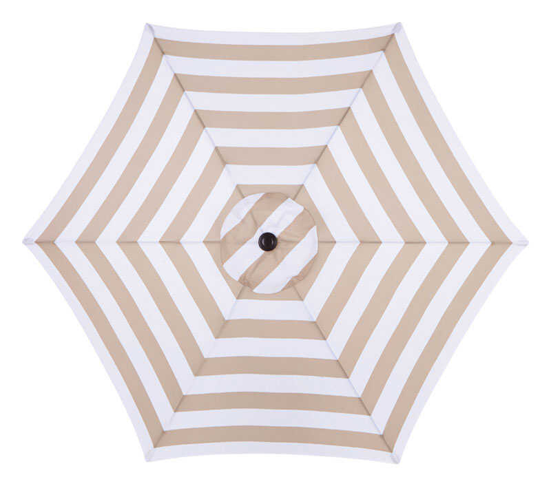 Living Accents  MARKET  9 ft. Tiltable Taupe Stripe  Patio Umbrella
