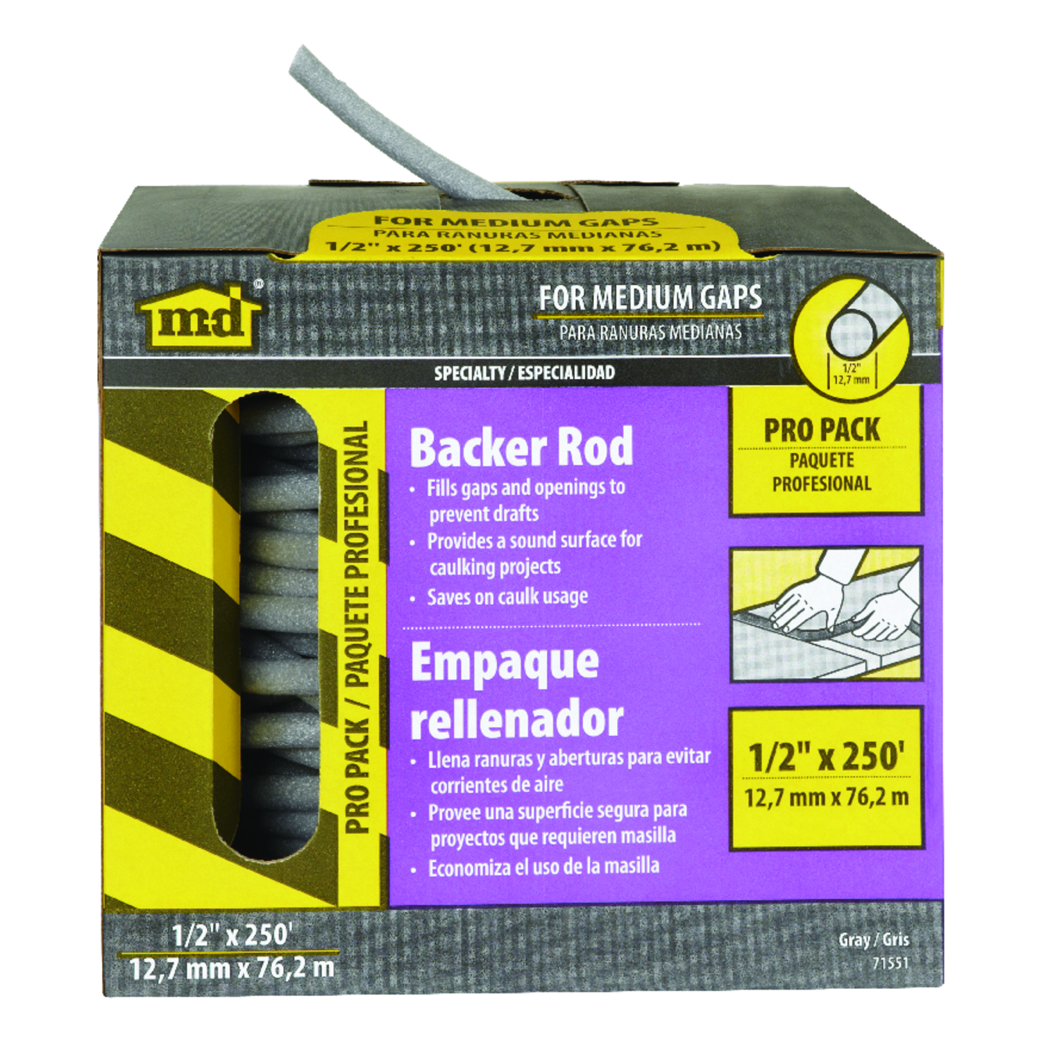 M-D Building Products  Gray  Foam  Caulk Backer Rod  For Door and Window 1/2 in.  x 250 ft. L