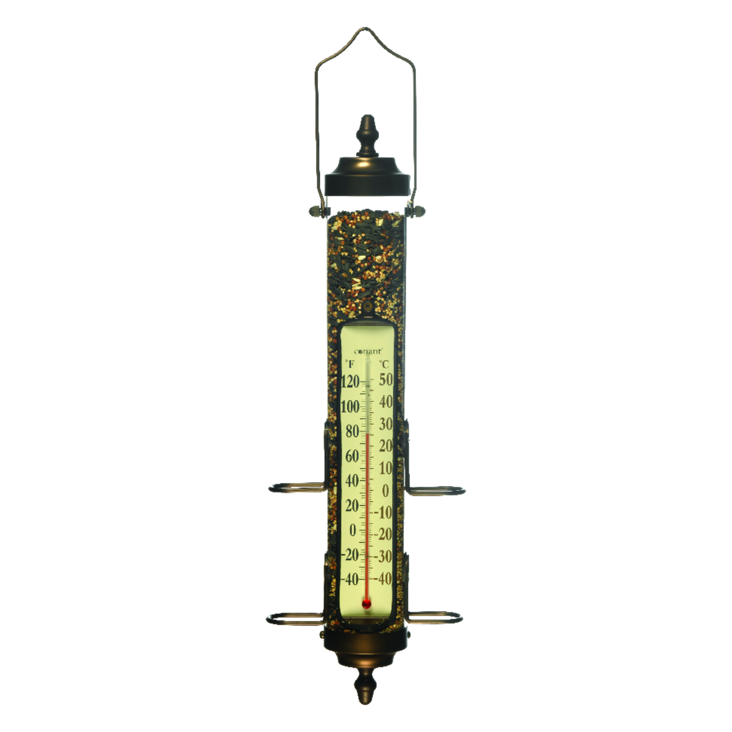 Conant  Grande View  Wild Bird  Tube  Combo Feeder and Thermometer  4 ports Polycarbonate