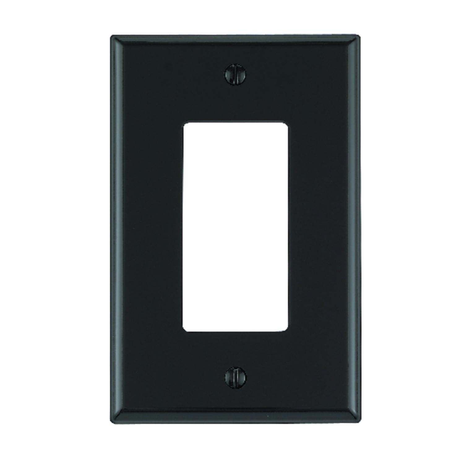 Leviton  Black  1 gang GFCI/Rocker  Wall Plate  1 pk Nylon