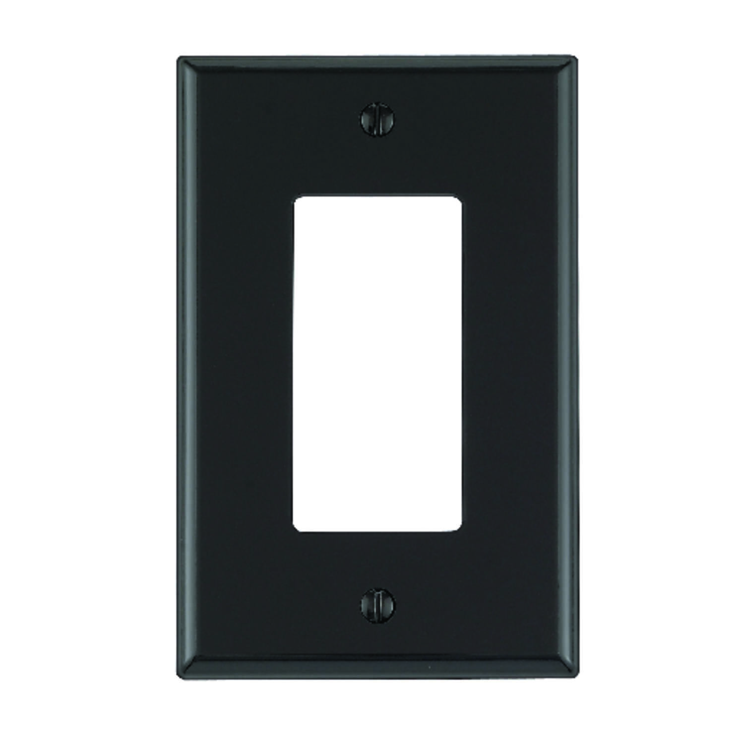 Leviton  Black  1 gang Nylon  GFCI/Rocker  Wall Plate  1 pk