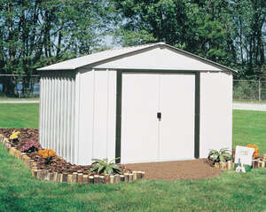 Arrow  81.38 in. H x 95.25 in. D x 123.25 in. W Steel  Storage Building  White