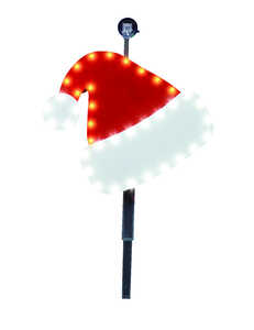 Santa's Best  LED Santa Hat Stake  Christmas Decoration  1 each Red/White  Plastic
