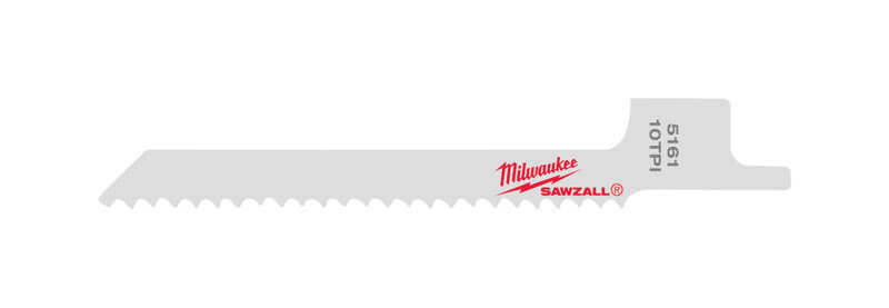 Milwaukee  SAWZALL  3-5/8 in. L x 0.25 in. W SUPER  Reciprocating Saw Blade  10 TPI 5 pk Bi-Metal