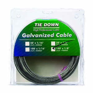 Tie Down Engineering  Galvanized  Galvanized Steel  1/8 in. Dia. x 100 ft. L Aircraft Cable