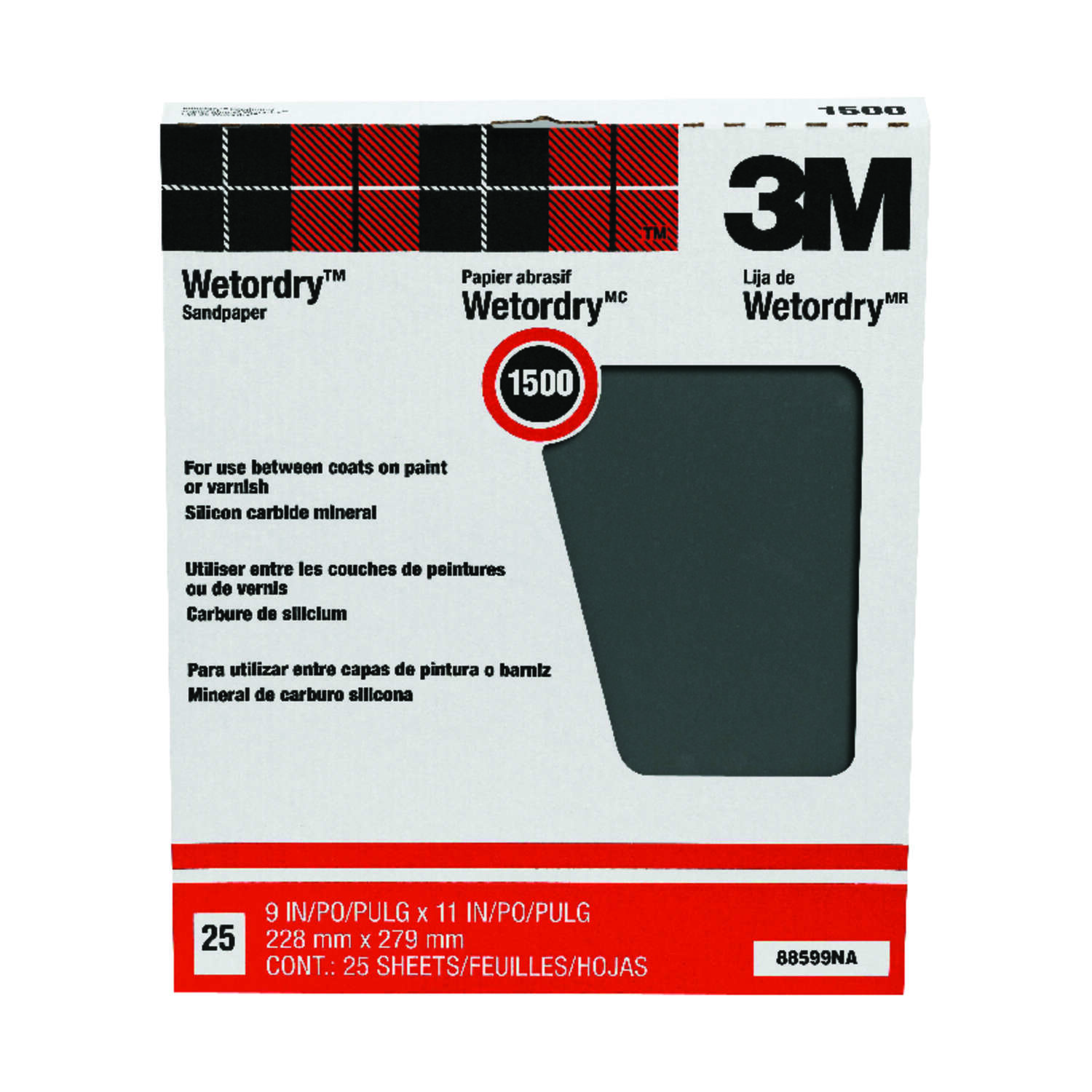 3M  11 in. L x 9 in. W 1,500 Grit Silicon Carbide  Sandpaper  25 pk