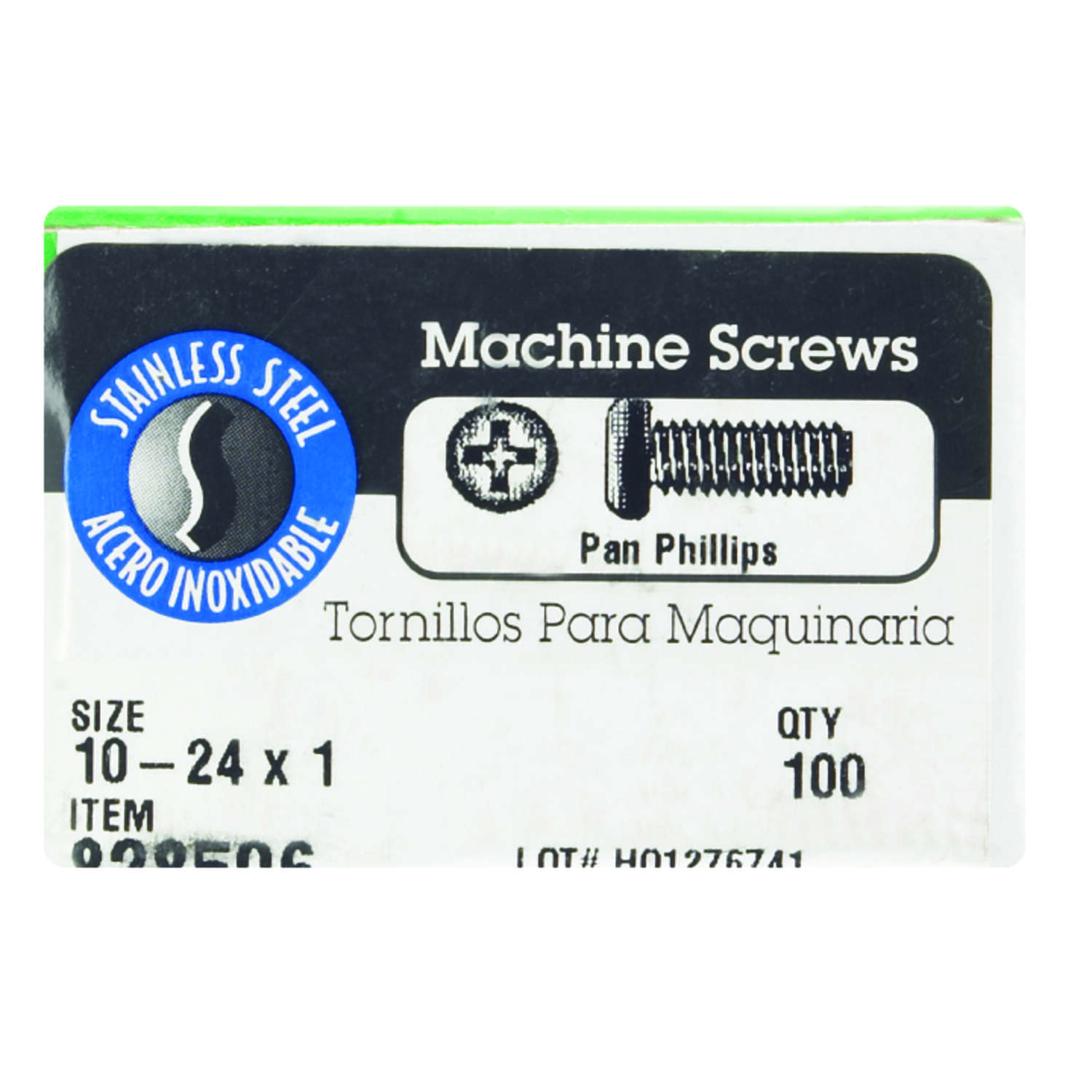 HILLMAN  No. 10-24   x 1 in. L Phillips  Flat Head Stainless Steel  Machine Screws  100