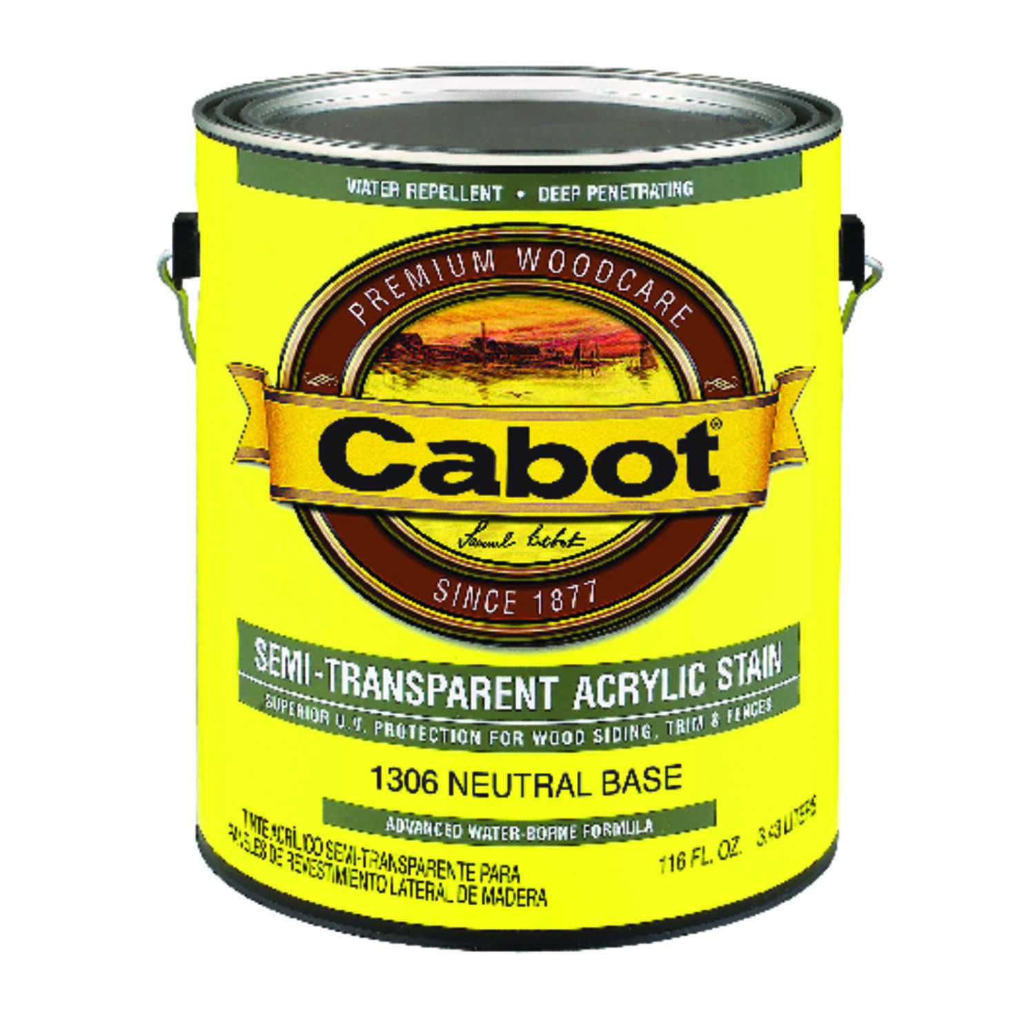 Cabot  Semi-Transparent  1306 Neutral Base  Water-Based  Acrylic  Stain  1 gal.