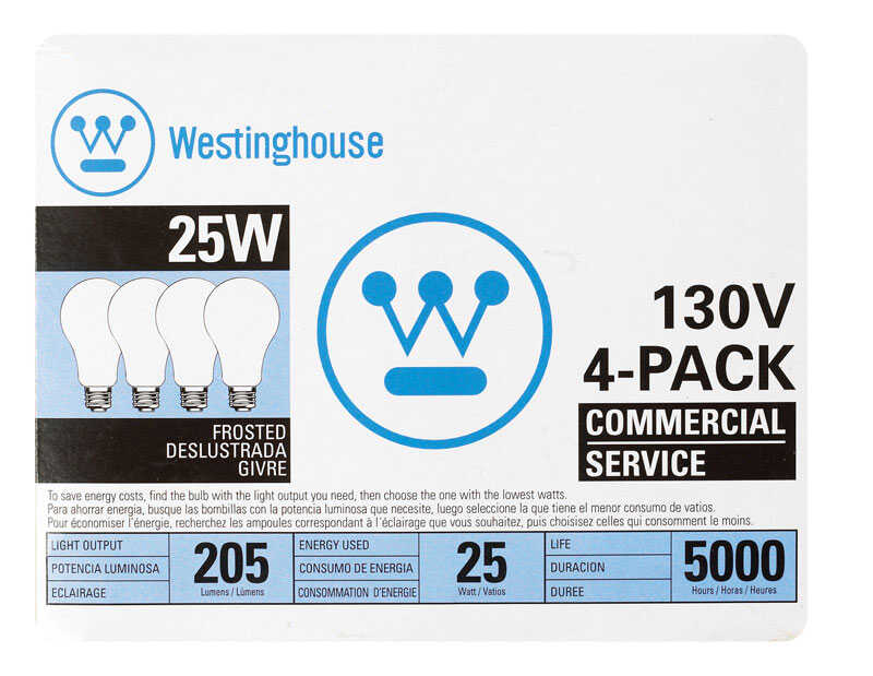 Westinghouse  25 watts A19  Incandescent Bulb  205 lumens White  A-Line  4 pk