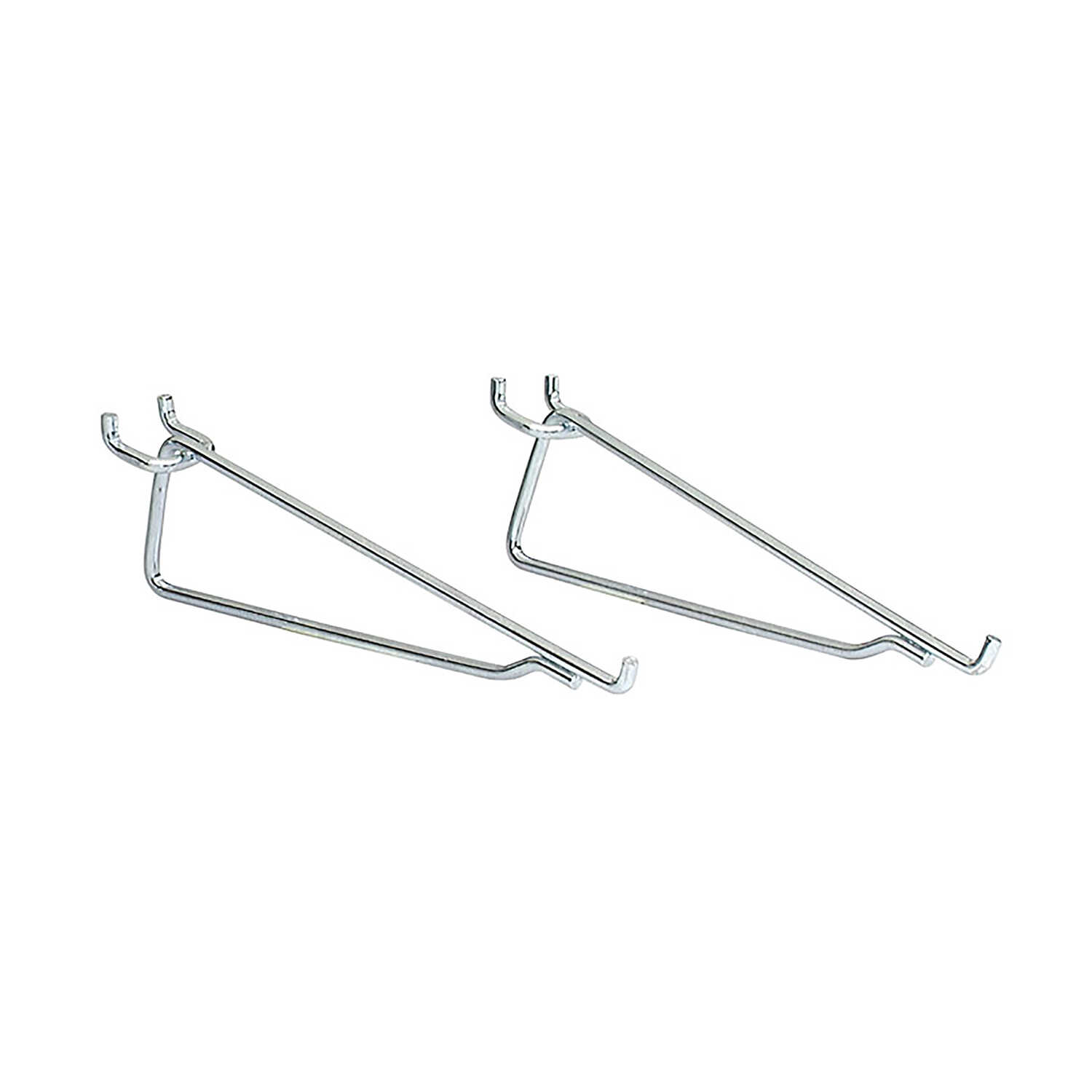 Crawford  Zinc Plated  Steel  8 in. Peg Hook Shelf Bracket  2  Silver
