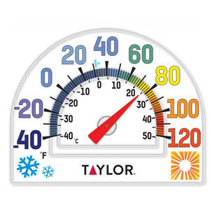 Taylor  Window Cling  Dial Thermometer  Plastic  Clear