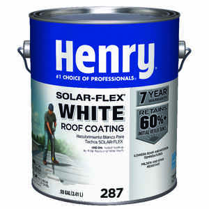 Henry  Solar-Flex  Smooth  White  Water Based  Elastomeric Roof Coating  1 gal.