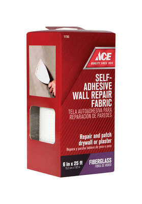 Ace  25 ft. L x 6 in. W Fiberglass  White  Self Adhesive Wall Repair Fabric