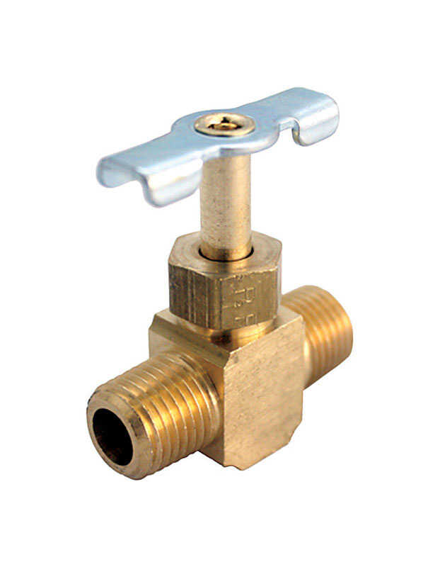 JMF  1/4 in. Male   x 1/4 in. Dia. Male  Straight  Needle Valve  Brass