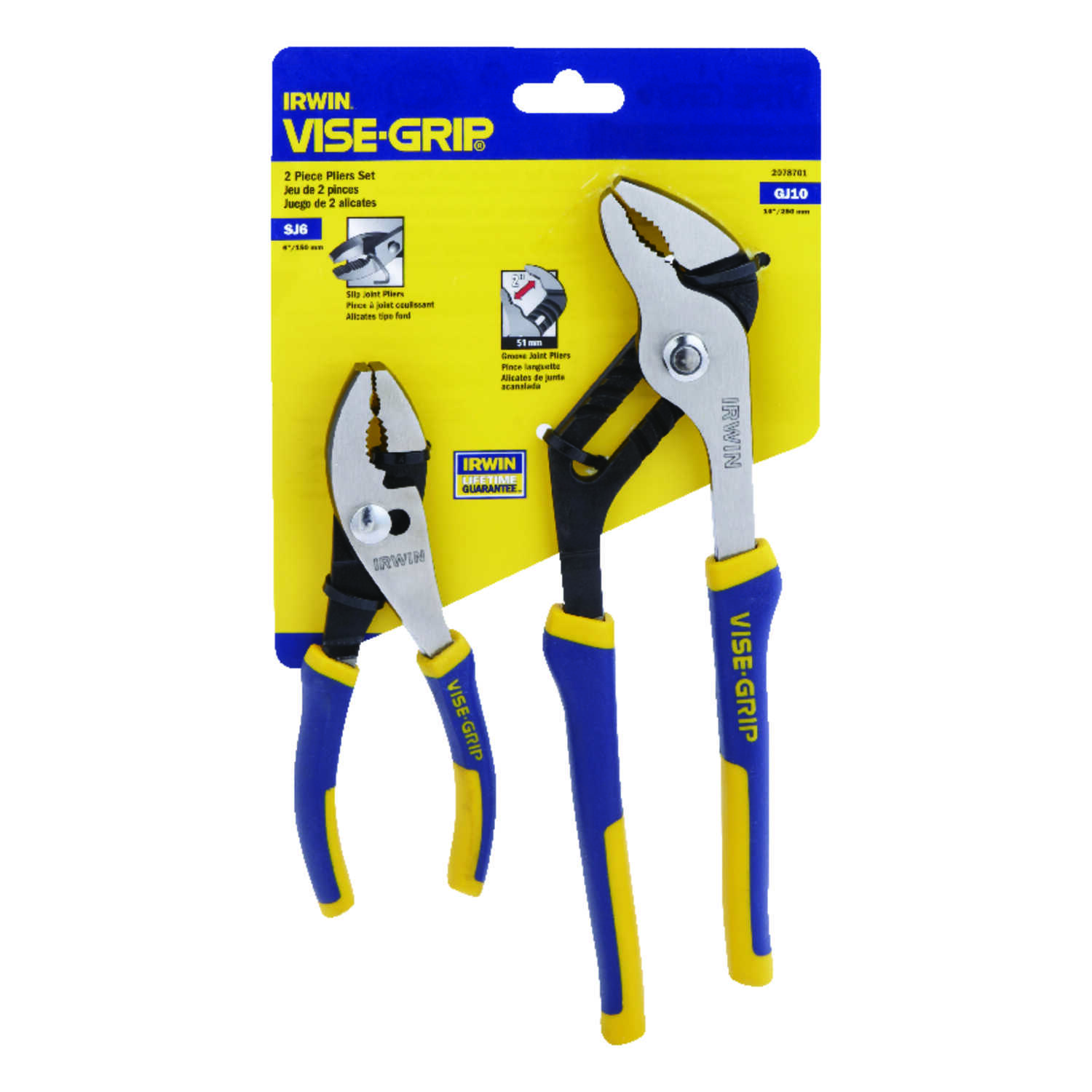 Irwin  Vise-Grip  6 & 10 in. Steel  Pliers Set  Blue/Yellow  2 pk