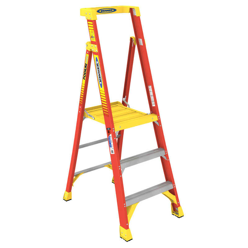 Werner  3 ft. H x 26 in. W Fiberglass  Podium Platform Ladder  300 lb. capacity Type IA