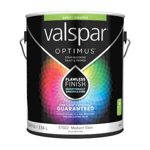 Valspar  Optimus  Satin  Tintable  Medium Base  Acrylic Latex  Paint and Primer  1 gal.