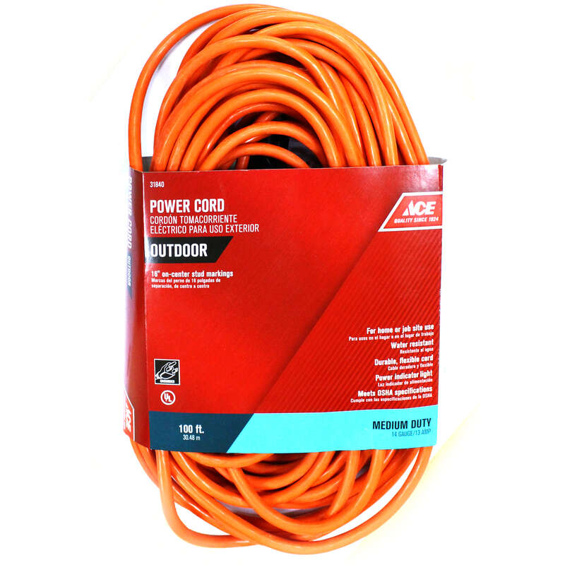 Ace Indoor or Outdoor 100 ft. L Orange Extension Cord 14/3 SJTW