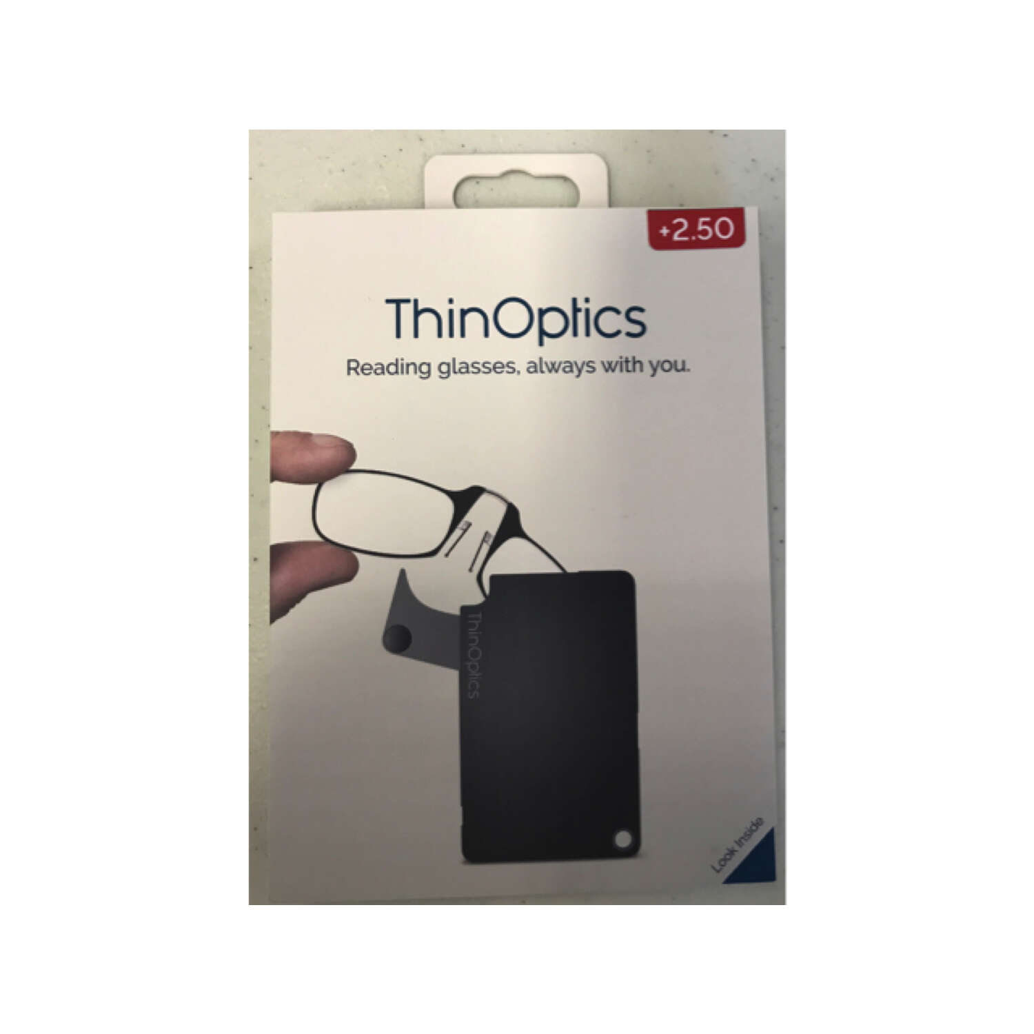 ThinOptics  Always With You  Black  Reading Glasses w/FlashCard Case  +2.50