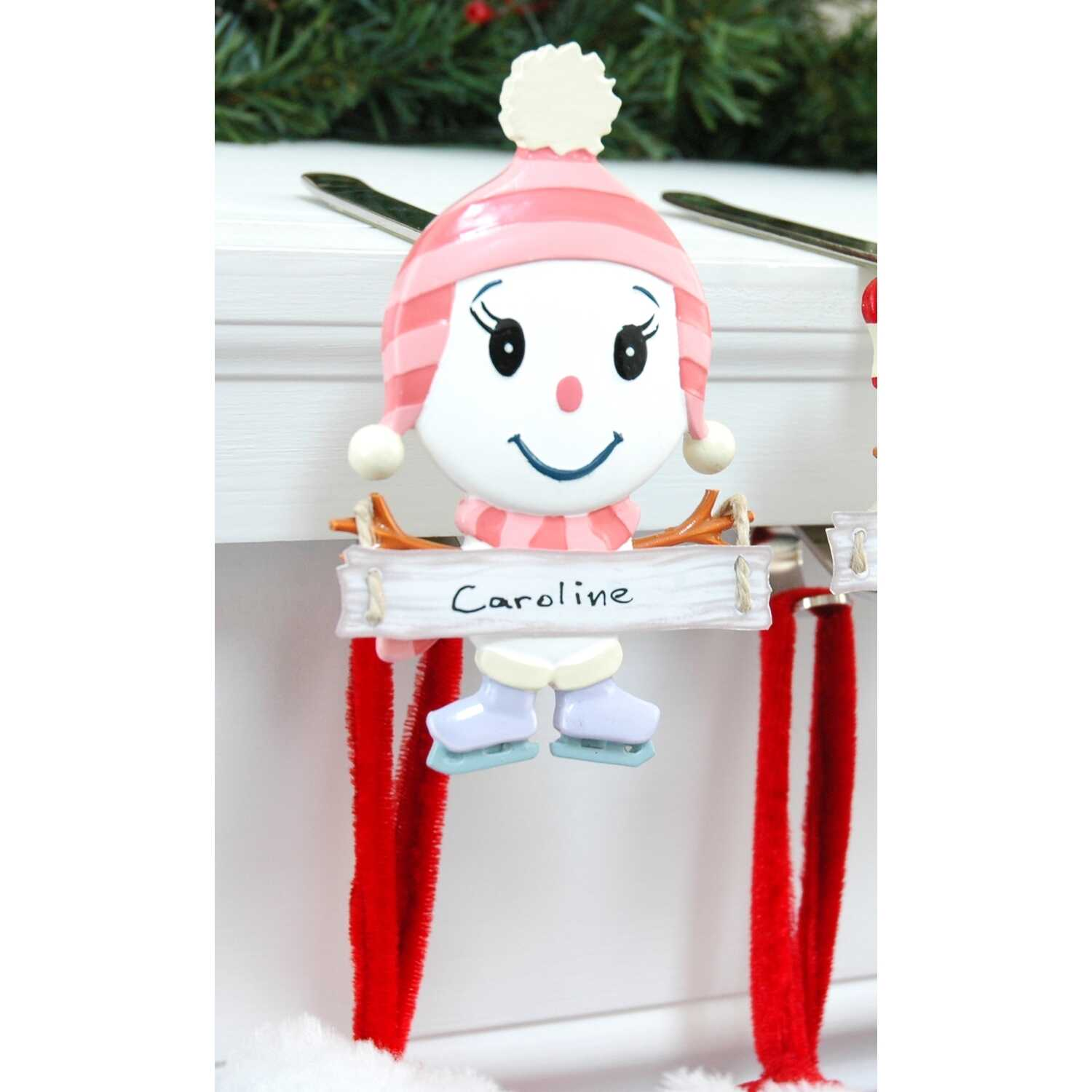 The Original MantleClip  Snowman Daughter  Pink/White  1 each Mantle Clips  Porcelain