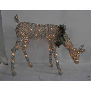Celebrations  Feeding Deer  LED Yard Art  White  Birch  1 each