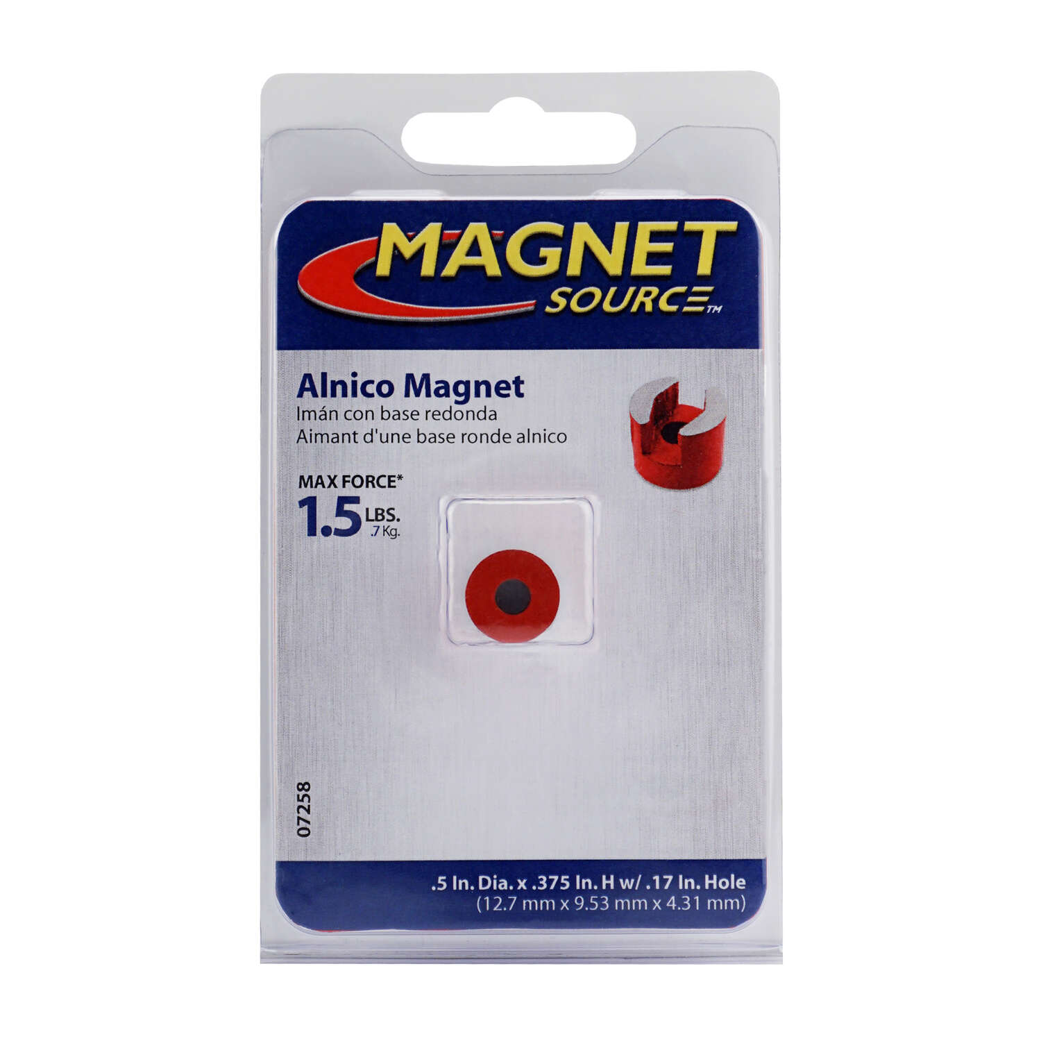 Master Magnetics  The Magnet Source  .375 Dia. in. Alnico  Work Holding Magnet  5.5 MGOe 1.5 lb. pul