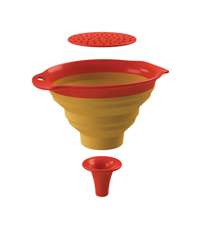 Squish  4-3/4 in. W x 6-1/2 in. L Yellow/Orange  Large Collapsible Funnel
