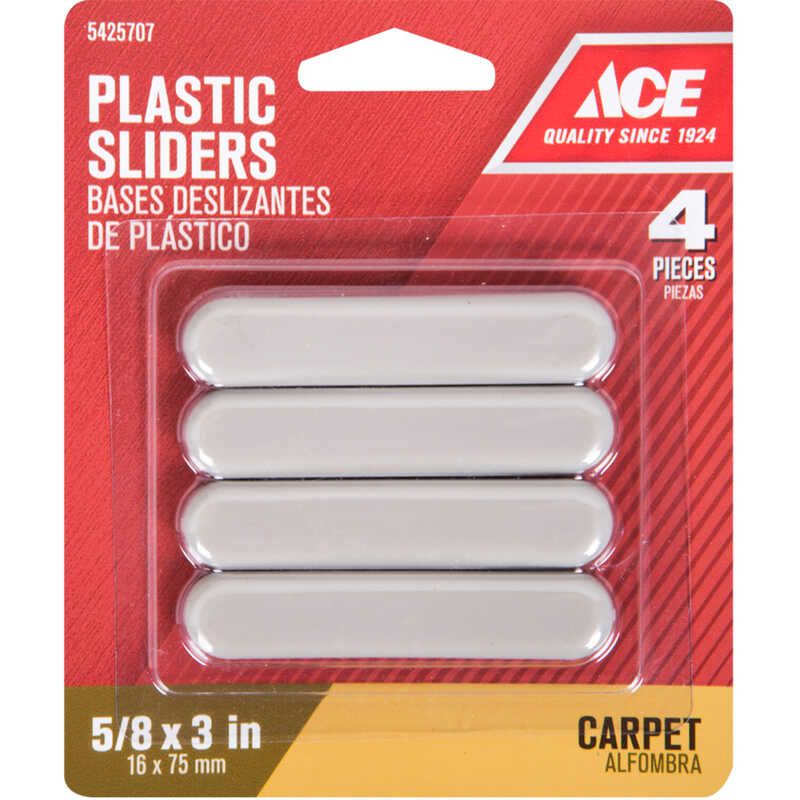 Ace  Plastic  Slide Glide  Brown  Rectangle  5/8 in. W x 3 in. L 4 pk Self Adhesive