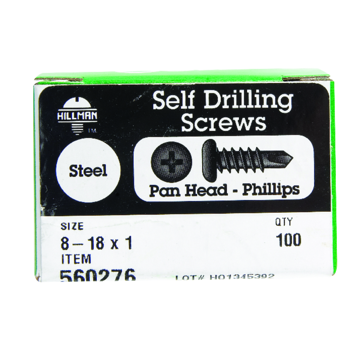 HILLMAN  8-18   x 1 in. L Phillips  Pan Head Steel  Zinc-Plated  Self- Drilling Screws  100 per box