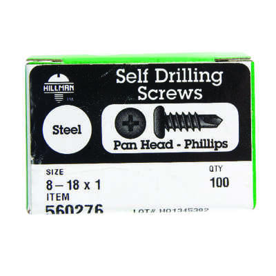 Hillman  No. 8-18   x 1 in. L Phillips  Pan Head Zinc-Plated  Steel  Self- Drilling Screws  100 pk