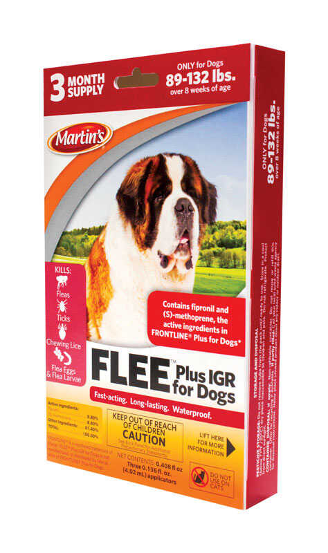 Martin's  Flee  Dog  Flea and Tick Drops  Liquid  9.8% Fibronil, 8.8% (S)-methoprene  0.41 oz.