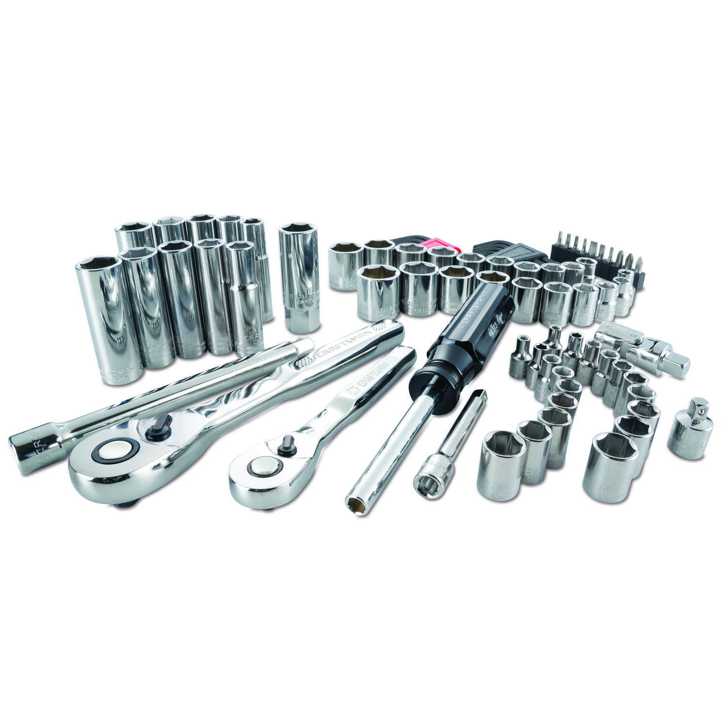 Craftsman  1/4 and 3/8 in. drive  Metric and SAE  6 Point Driver Mechanic's Tool Set  83 pc.