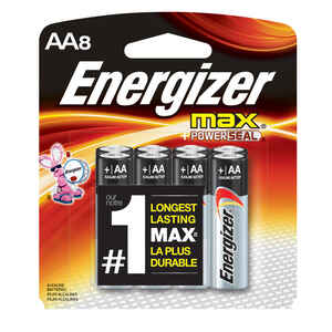 Energizer  MAX  AA  Alkaline  Batteries  8 pk Carded  1.5 volts