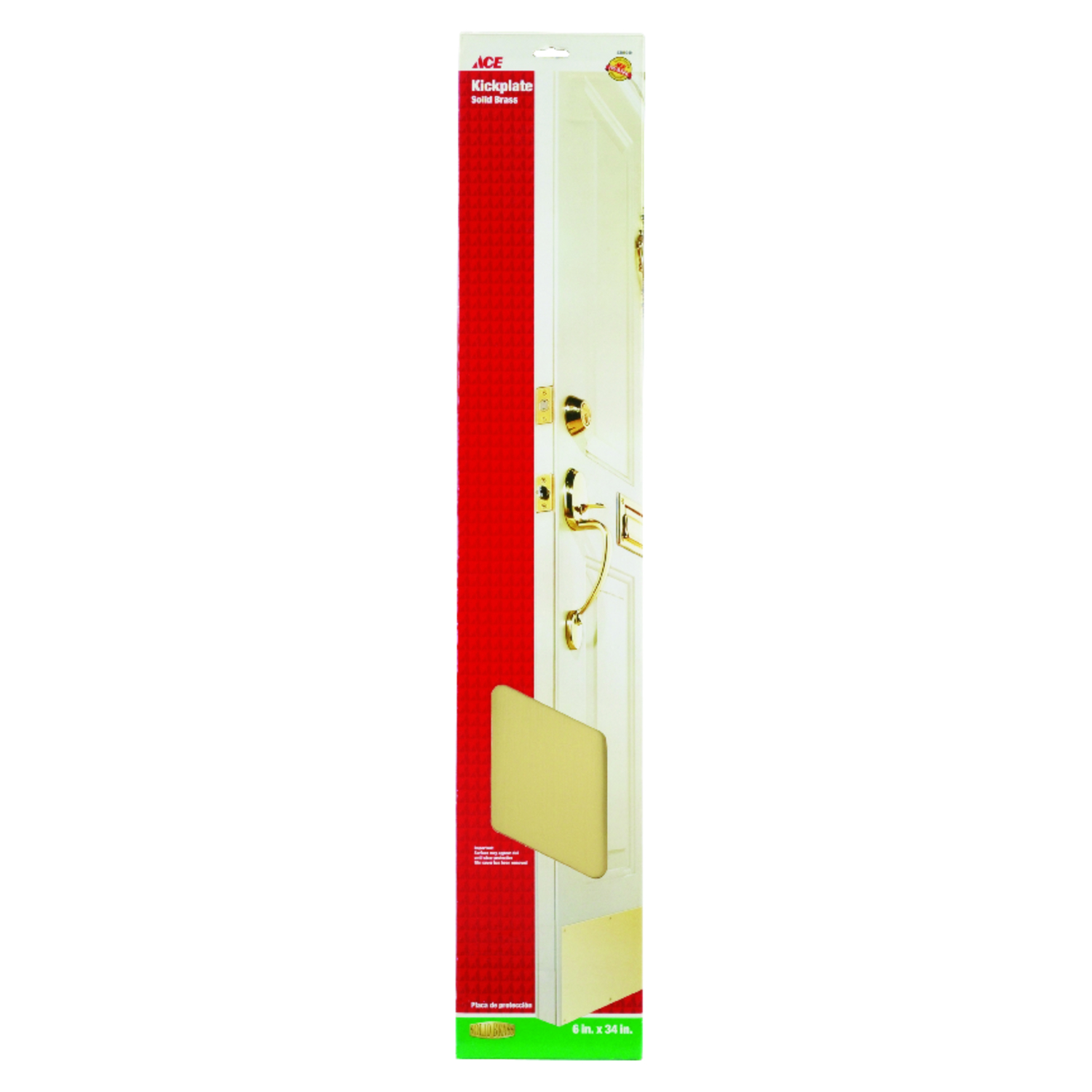 Ace  34 in. L x 6 in. H Bright Brass  Kickplate  Brass