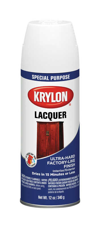Krylon  Gloss  White  Lacquer Spray Paint  12 oz.