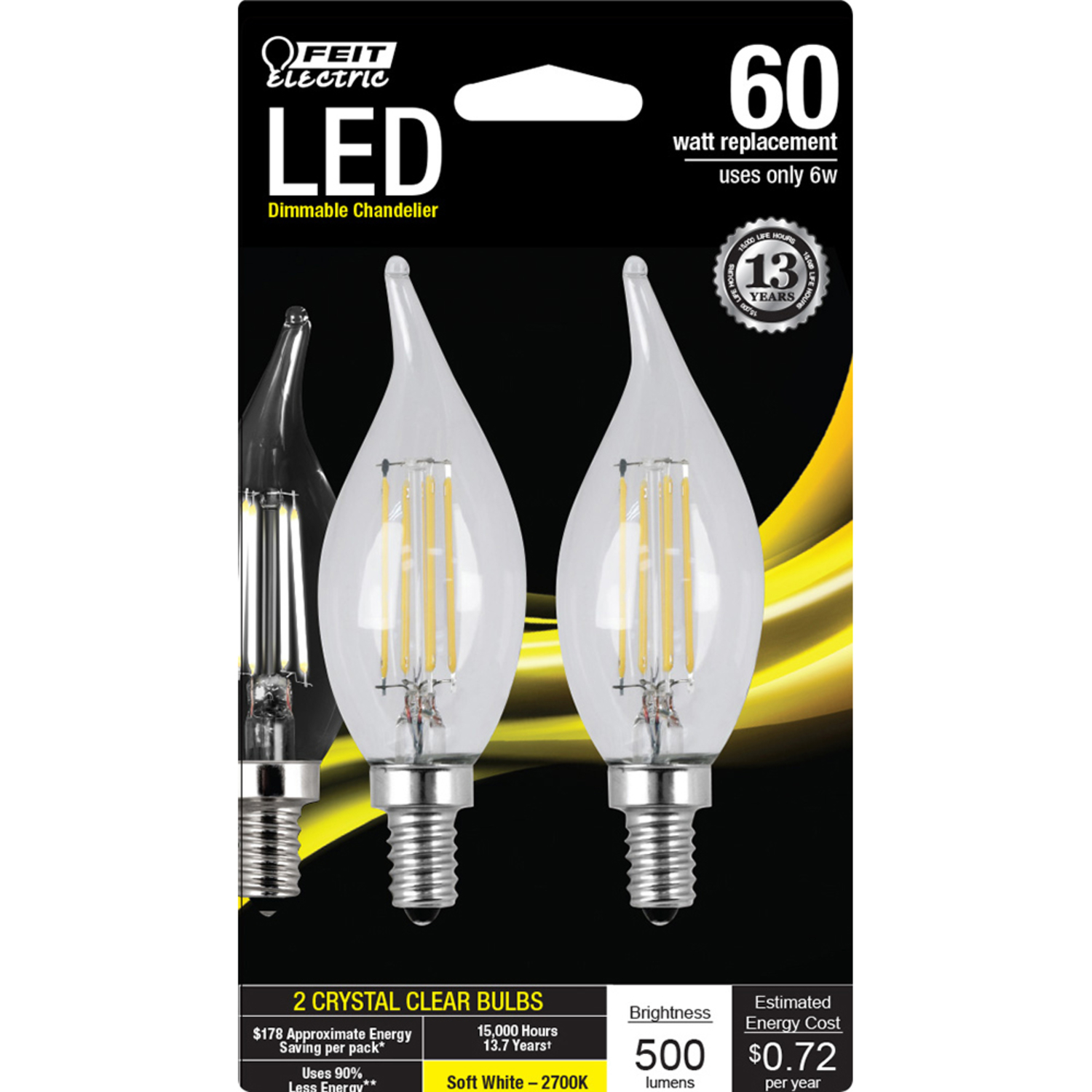 FEIT Electric  6 watts C10  LED Bulb  500 lumens Soft White  Chandelier  60 Watt Equivalence