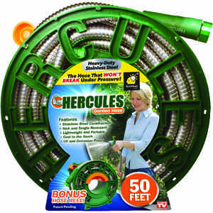 Hercules  As Seen On TV  3/4 in. Dia. x 50 ft. L Flexible  Silver  Stainless Steel  Hose and Reel